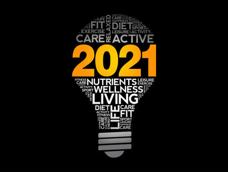 2021 health goals bulb word cloud, health concept background