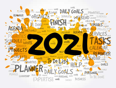 2021 New Year Goals word cloud, business concept background