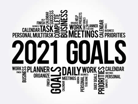 2021 Goals word cloud collage, business concept background