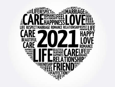 2021 Love and Happy concept, heart word cloud collage background