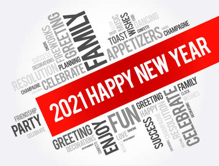2021 Happy New Year greeting word cloud collage, Happy New Year celebration greeting card