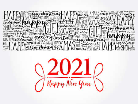 2021 Happy New Year. Christmas background word cloud, holidays lettering collage