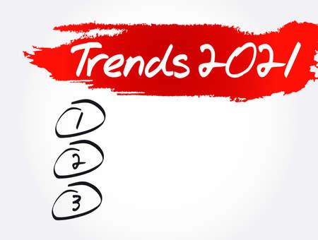 Trends 2021 Blank List, concept background Vecteurs