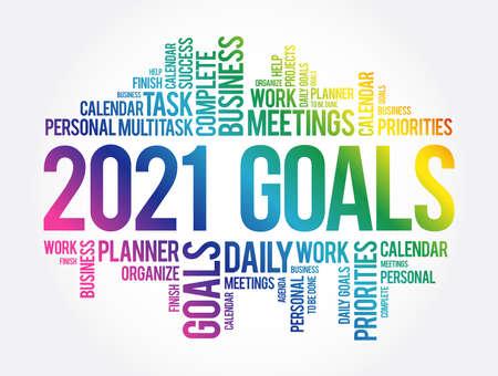 2021 Goals word cloud collage, business concept background Vecteurs