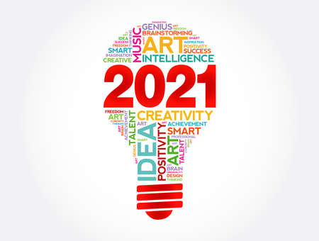 2021 Creative Ideas bulb word cloud collage, concept background