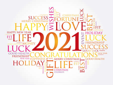 2021 year greeting word cloud collage, Happy New Year celebration greeting card
