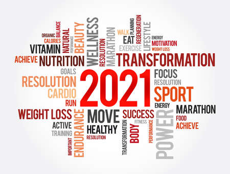 2021 health and sport goals word cloud, motivation concept background Vettoriali