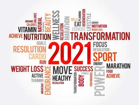 2021 health and sport goals word cloud, motivation concept background Vector Illustration