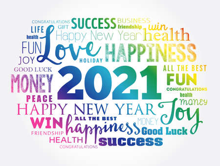 2021 year greeting word cloud collage, Happy New Year celebration greeting card Vettoriali