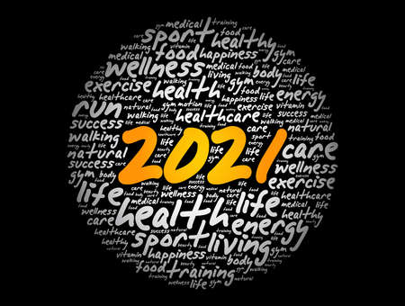2021 health and sport goals word cloud, motivation concept background