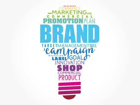 Brand word light bulb cloud collage, business concept background