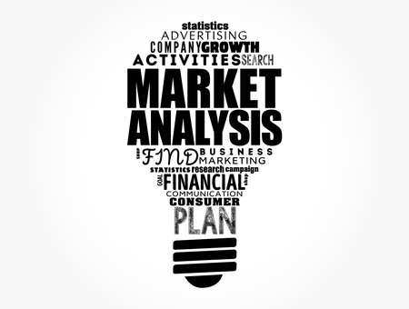 Market Analysis light bulb word cloud collage, business concept background