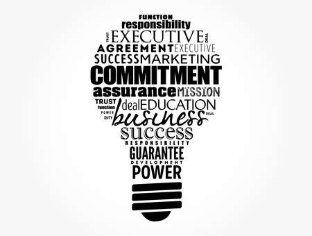 Commitment light bulb word cloud collage, business concept background Illustration