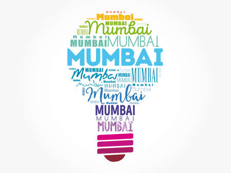 Mumbai light bulb word cloud, travel concept background