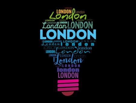London light bulb word cloud, travel concept background Stock Illustratie