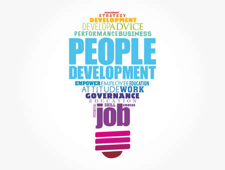 People Development light bulb word cloud collage, business concept background