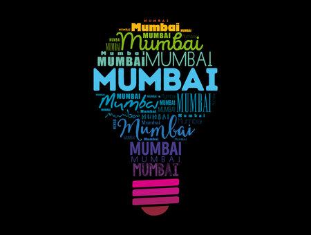 Mumbai light bulb word cloud, travel concept background Ilustração