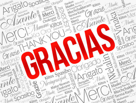 Gracias (Thank You in Spanish) Word Cloud background, all languages, multilingual for education or thanksgiving day Vetores