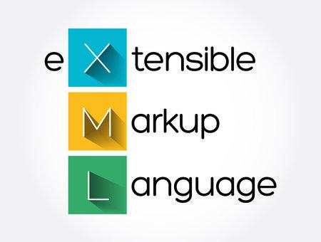 XML - eXtensible Markup Language acronym, technology concept background  イラスト・ベクター素材