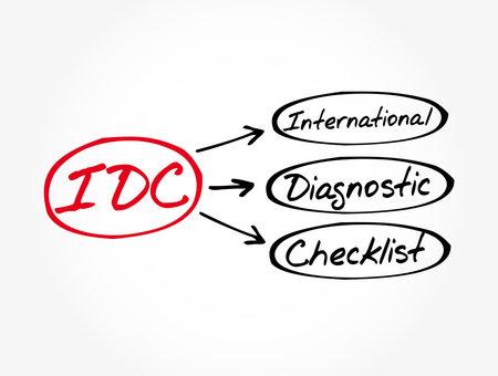 IDC - International Diagnostic Checklist acronym, business concept background