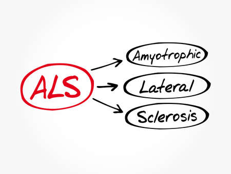 ALS - Amyotrophic Lateral Sclerosis acronym, medical concept background Vector Illustration