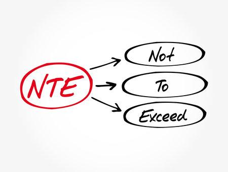 NTE - Not To Exceed acronym, business concept background Ilustração