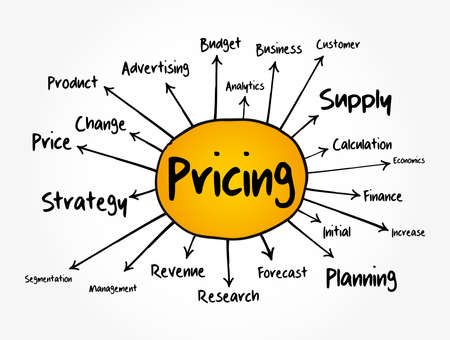 Pricing mind map flowchart, business concept for presentations and reports