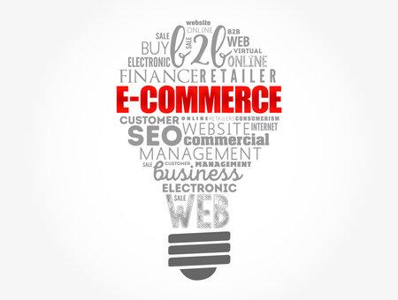 E-COMMERCE light bulb word cloud, business concept background