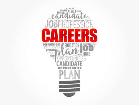 CAREERS word cloud light bulb, business concept background