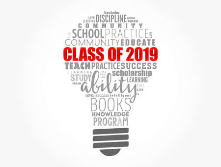 CLASS OF 2019 light bulb word cloud collage, education concept background
