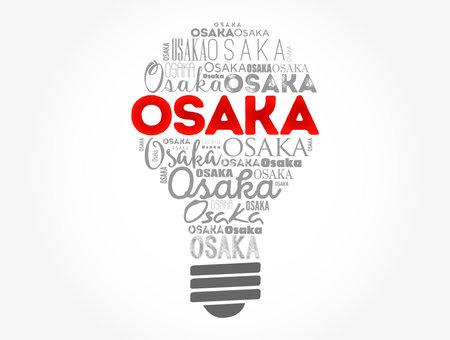 Osaka light bulb word cloud, travel concept background