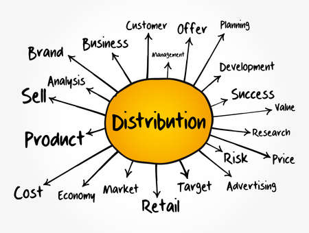 Distribution mind map flowchart, business concept for presentations and reports
