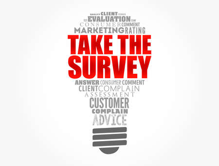 Take the Survey light bulb word cloud collage, business concept background