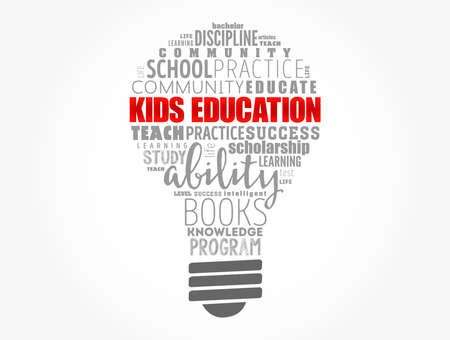 Kids Education light bulb word cloud collage, education concept background