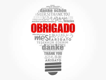 Obrigado (Thank You in Portuguese) light bulb Word Cloud in different languages