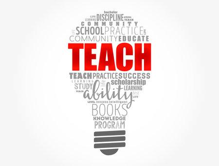 TEACH light bulb word cloud collage, education concept background