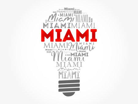 Miami light bulb word cloud, travel concept background Ilustração