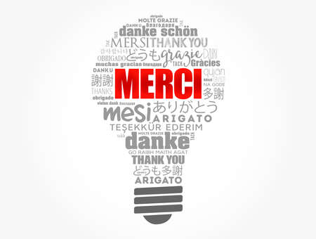 Merci (Thank You in French) light bulb word cloud in different languages