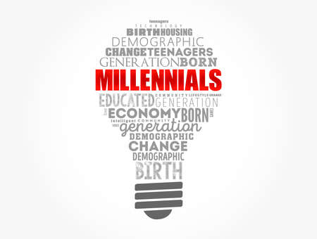 Millennials light bulb word cloud, education concept background