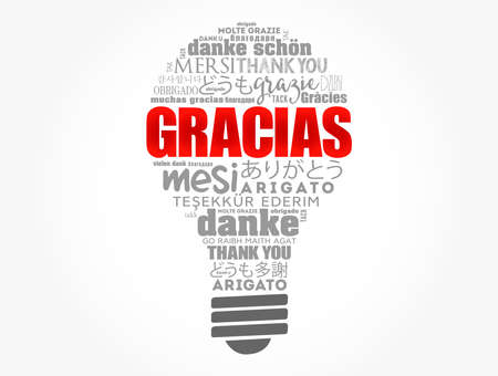 Gracias Thank You in Spanish light bulb word cloud in different languages Ilustração