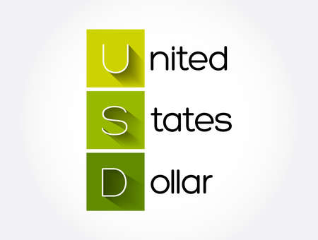 USD - United States Dollar acronym, business concept background Ilustracja