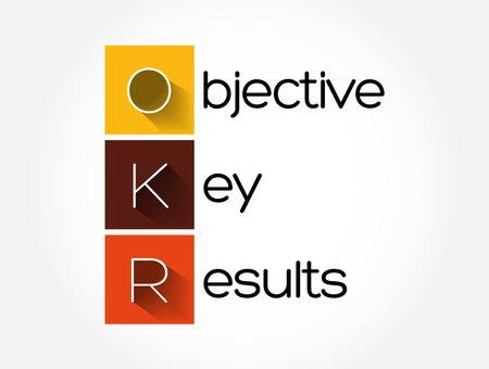 OKR - Objective Key Results acronym, business concept background Ilustración de vector