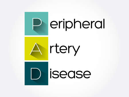 PAD - Peripheral Artery Disease acronym, health concept background Stock Illustratie