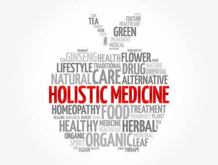 Holistic medicine apple word cloud, health concept background