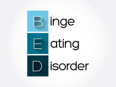 BED - Binge Eating Disorder acronym, health concept background Vector Illustration