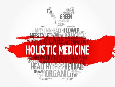 Holistic medicine apple word cloud, health concept background Vetores