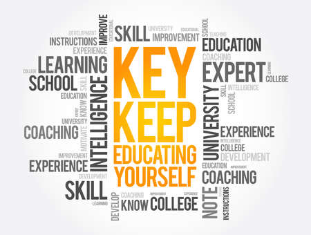 KEY - Keep Educating Yourself word cloud, education concept background Vector Illustratie