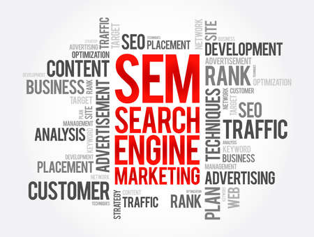 SEM - Search Engine Marketing word cloud, business concept background