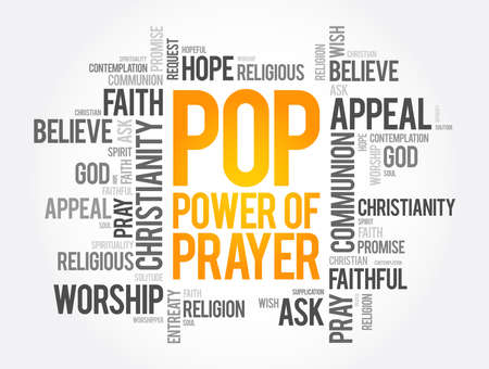 POP - Power Of Prayer word cloud, concept background