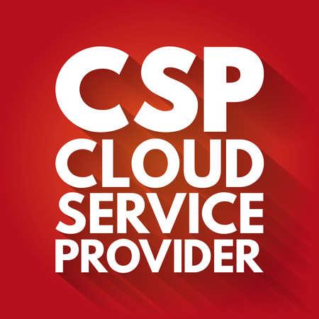 CSP - Cloud Service Provider acronym technology business concept background